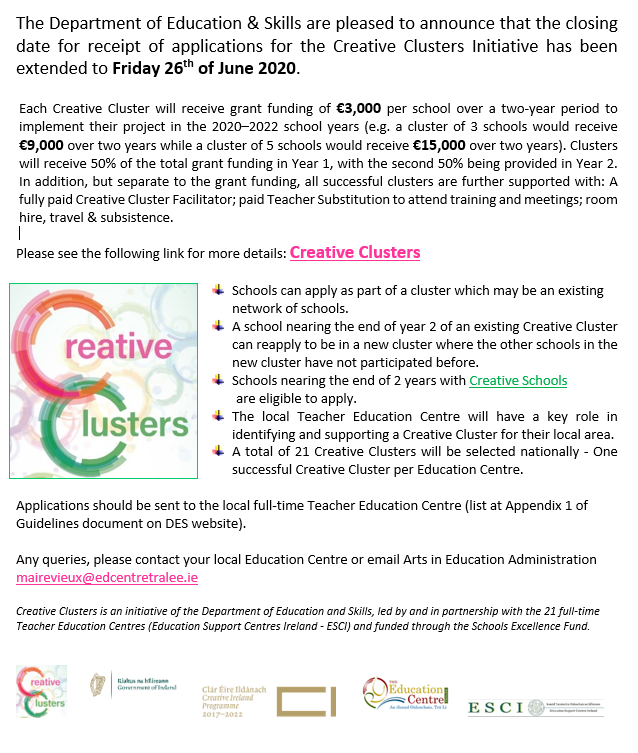 Creative Clusters Extension of closing date